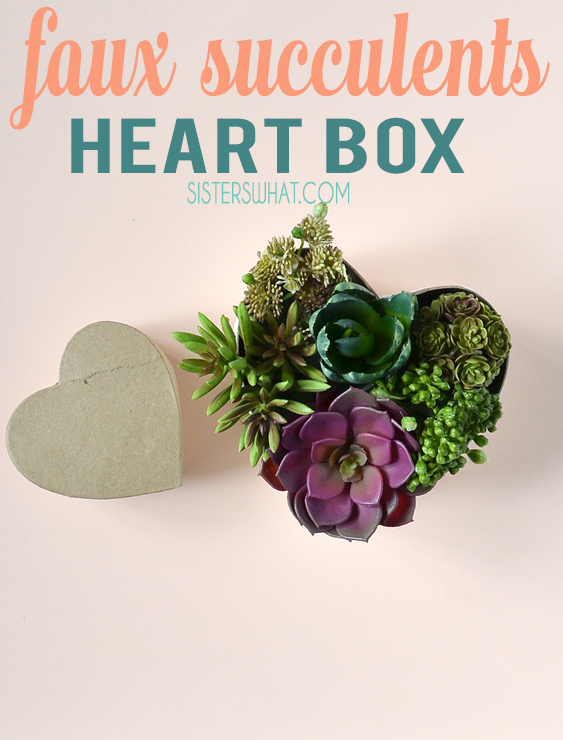DIY fake succulent heart box valentines decoration