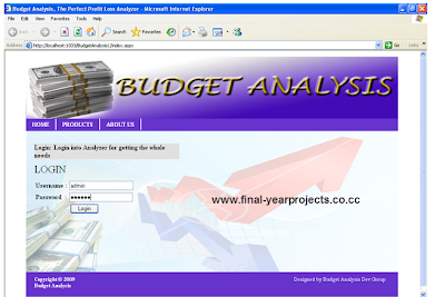 Budget Analysis System ASP Dot Net Project Code
