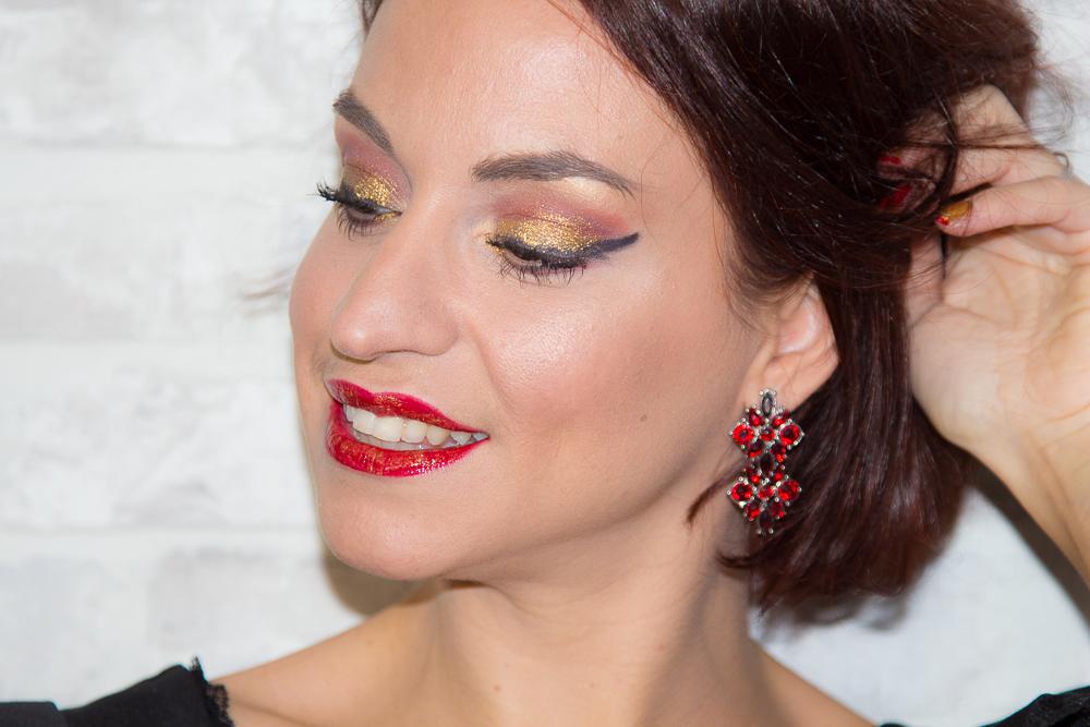maquillage - noel - rouge - dore