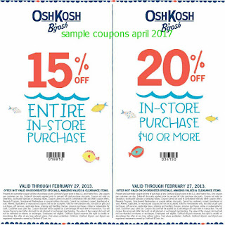 OshKosh B'gosh coupons for april 2017
