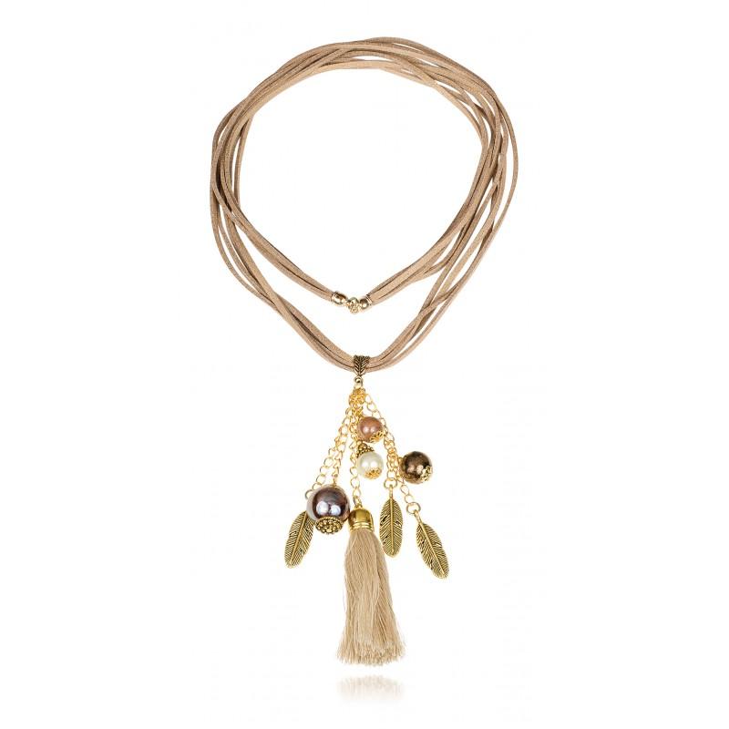 TopArt Jewelry wisior złote piórka boho, polska biżuteria, biżuteria handmade