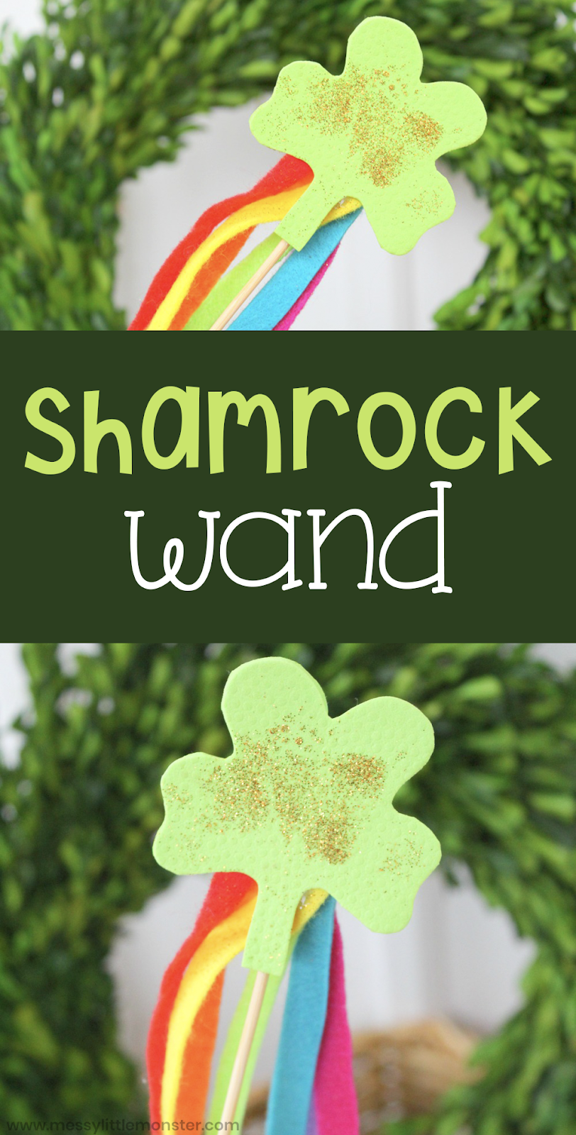 This shamrock wand is such a fun St Patrick's Day craft for kids. Toddlers and preschoolers will love making and playing with this easy shamrock craft.