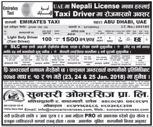 Jobs in UAE for Nepali, Salary Rs 41,505