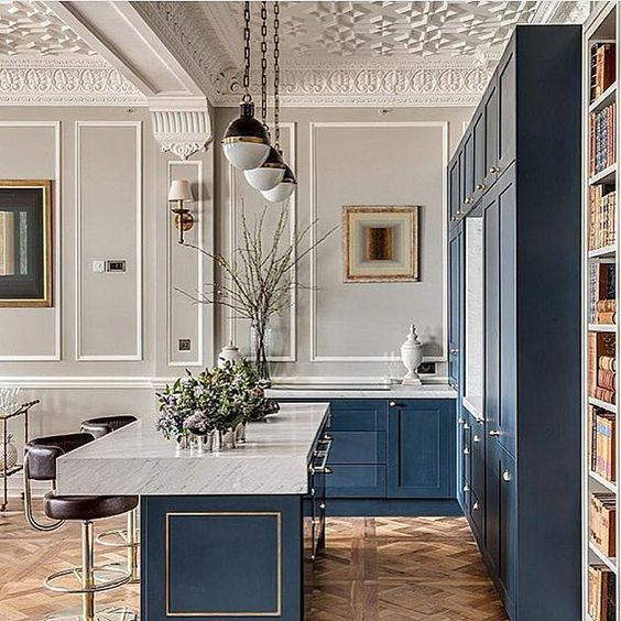 Blue and white kitchen decor inspiration 40 home decor ideas to pin elegant blue kitchen with amazing moldings parquet floor and marble