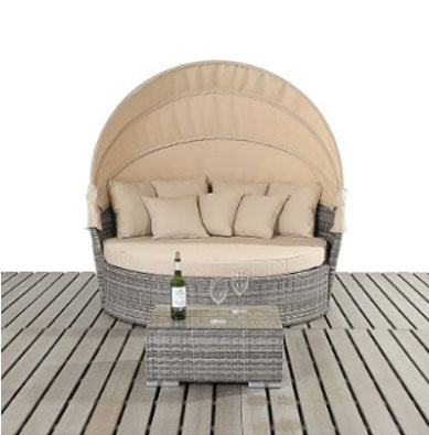 Port Royal Luxe Rustic Large Daybed with Canopy and Side Table - Multi-Colour, Round Outdoor Daybeds UK, Outdoor Daybeds UK, Daybeds UK, Outdoor Daybeds at Amazon.co.uk, Amazon.co.uk, Best Outdoor Daybeds, Outdoor Furniture, Quality Outdoor Daybeds,