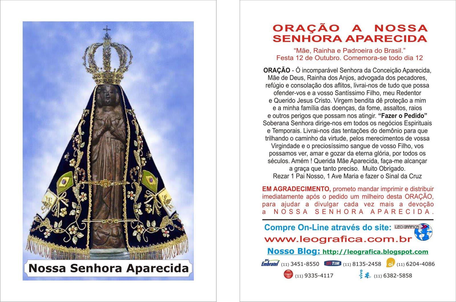 Nossa Senhora Aparecida Mãe Da Família Brasileira: LEO GRAFICA Gráfica De Santinhos Para Promessa: Nossa