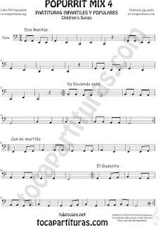 Mix 4 Partitura de Tuba Elicón (o Bajo Metal) Dos Ranitas, Ya lloviendo está, Con mi Martillo, El Gusanito Popurrí Mix 4 Sheet Music for Tuba Music Scores