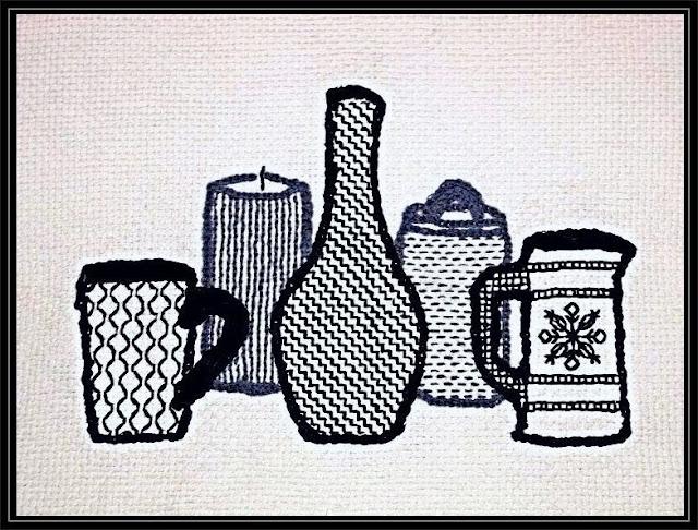 Finished Blackwork Embroidery Still Life