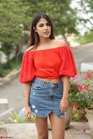 Rhea Chakraborty in Red Crop Top and Denim Shorts Spicy Pics ~  Exclusive 247.JPG
