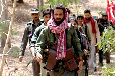 Manoj Bajpai as the charismatic Naxalite leader Rajan, with other Naxalites, Chakravyuh (2012), Directed by Prakash Jha