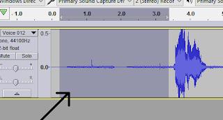 block rekaman yang terdapat noise