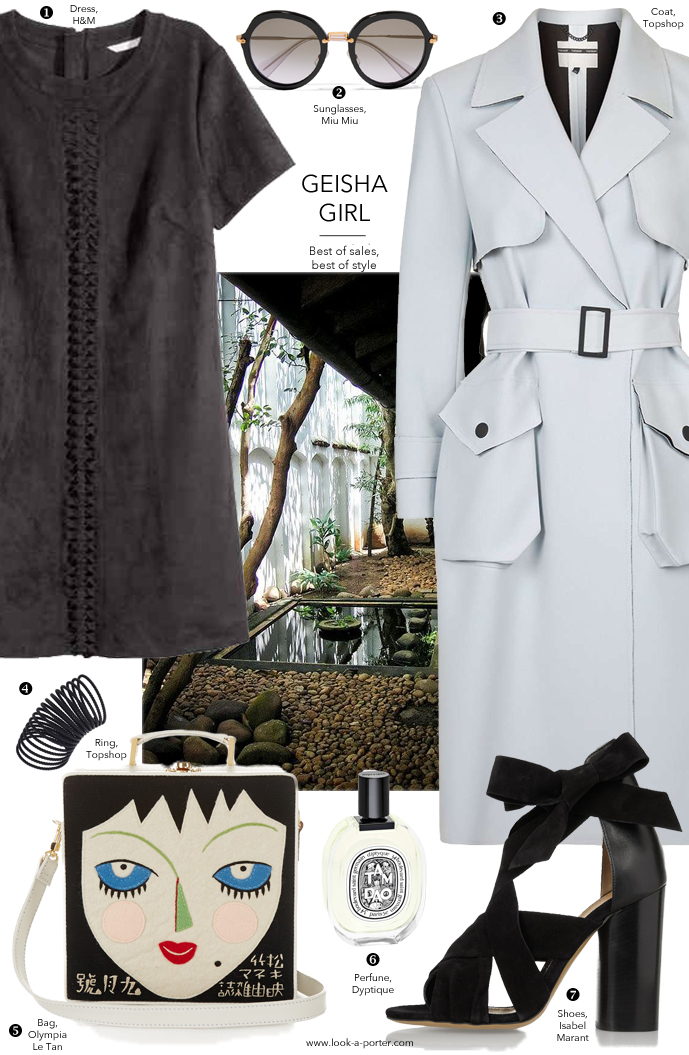 Outfit ideas inspired by Orient Japanese gardens and graphic shapes, styled with suede dress, classic structured trench coat and Isabel Marant shoes via www.look-a-porter.com style & fashion blog