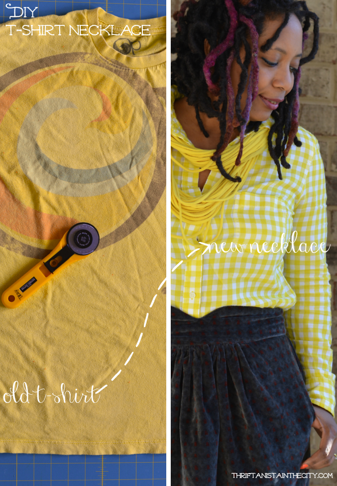 DIY t-shirt necklace. Very easy! Great way to make something old into something new. #shop