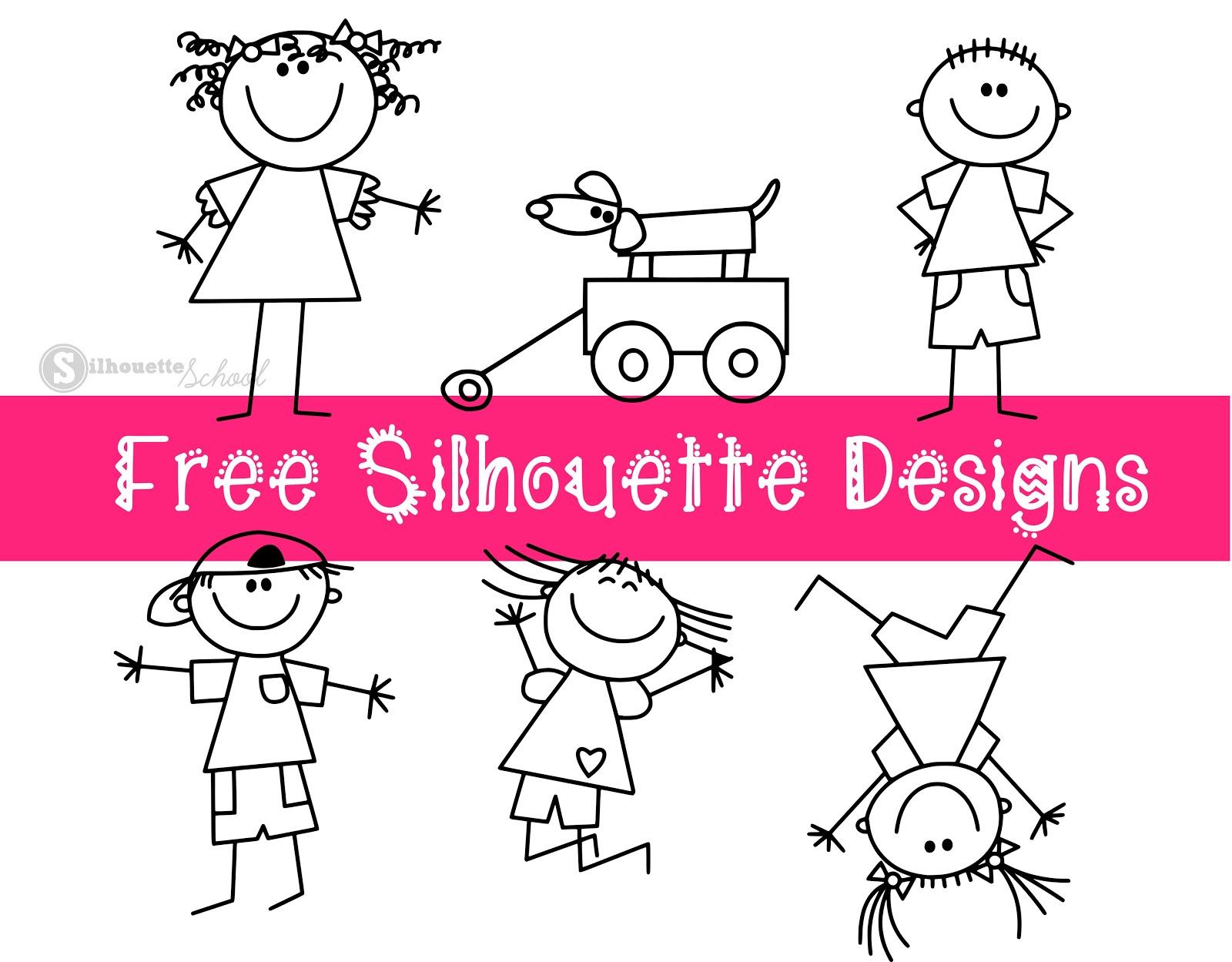 Stick People Design Set: Free Silhouette Designs