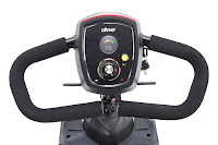 Delta-shaped steering handle & control panel on Drive Medical Scout Compact Travel Power Mobility Scooter 3 Wheel