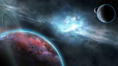 imagen ilustrativa de 3 planetas en el espacio