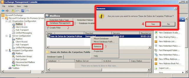 Exchange Management Console - Eliminar Base de datos