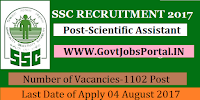 Staff Selection Commission Recruitment 2017– 1102 Scientific Assistant