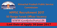 Himachal Pradesh Public Service Commission Recruitment 2017– 50 Range Forest Officer