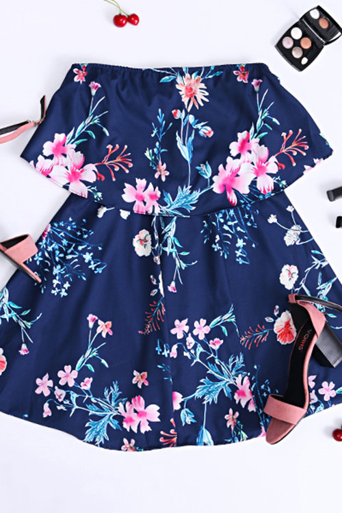 Blue Off-The Shoulder Dress