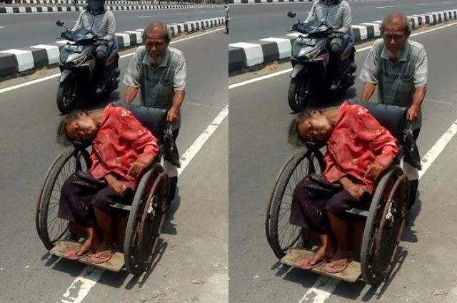 Kakek 71 Tahun Rela Dorong Dingklik Roda Berpuluhan Kilo Demi Antar Sang Istri Terapi Ginjal