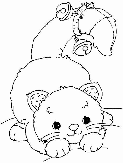 Tranh tô màu con mèo đeo chuông