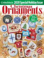 FIND BLUE RIBBON DESIGNS IN THE JUST CROSSSTITCH 2020 ANNUAL CHRISTMAS ORNAMENT ISSUE