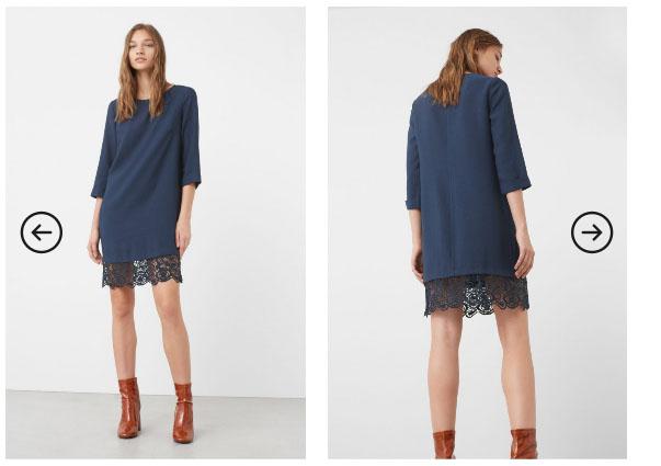 Rochie de zi eleganta bleumarin maneci trei sferturi de toamna - Mango