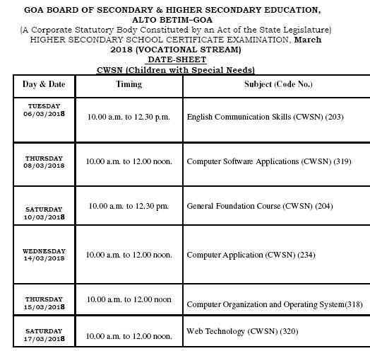 Goa HSSC Vocational CWSN Exam Time Table 2018