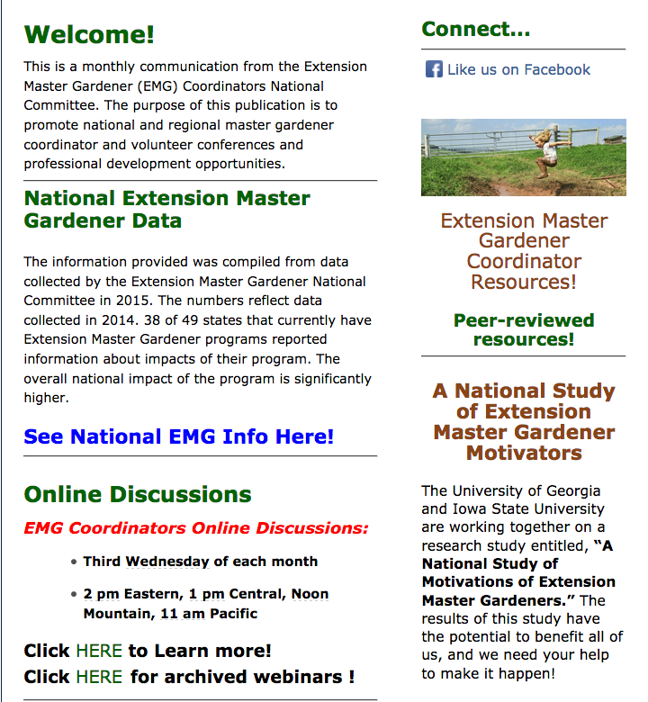 National Extension Master Gardener Coordinators E News Blast!