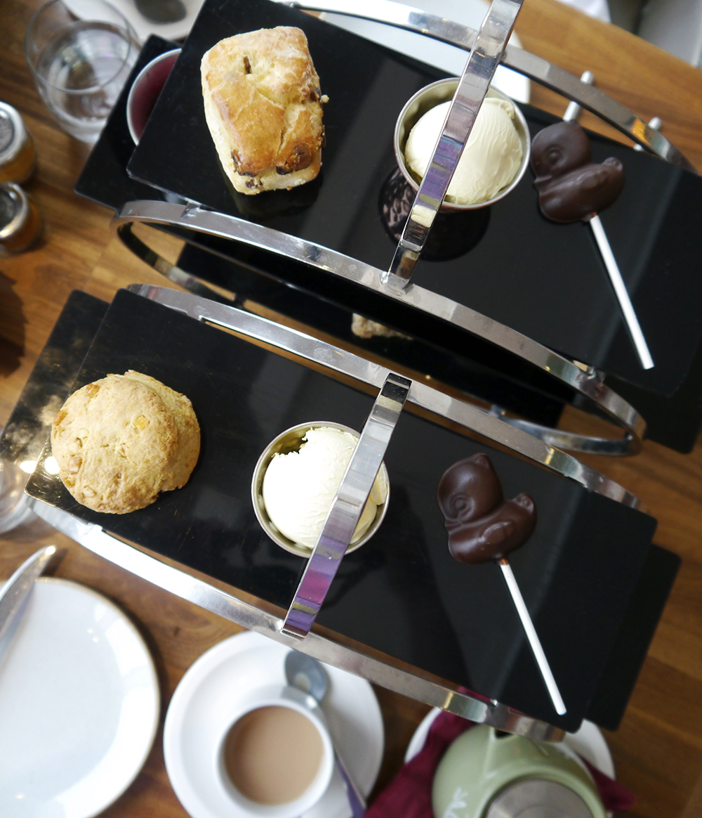 Scones and chocolate ducks at Apex Hotel Dundee