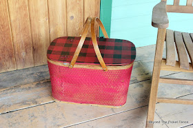 upcycle a vintage picnic basket with Fusion paint and old sign stencils
