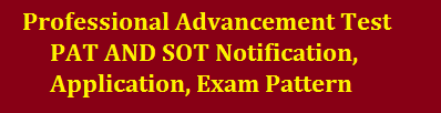 Professional Advancement Test PAT AND SOT Notification Application Exam Pattern