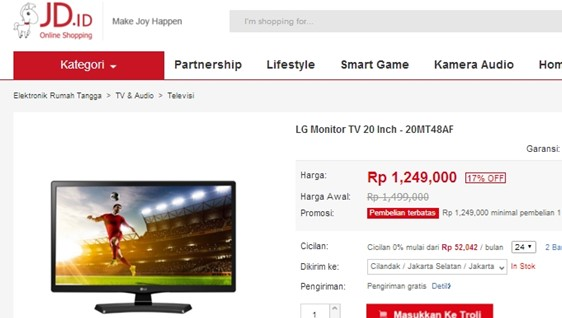 Harga TV Led 20 Inchi jd.id elektronik