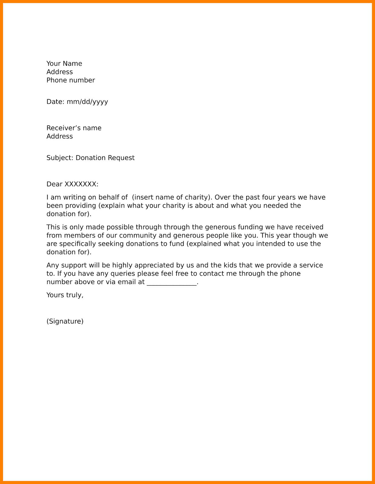 letter asking for raffle prizes