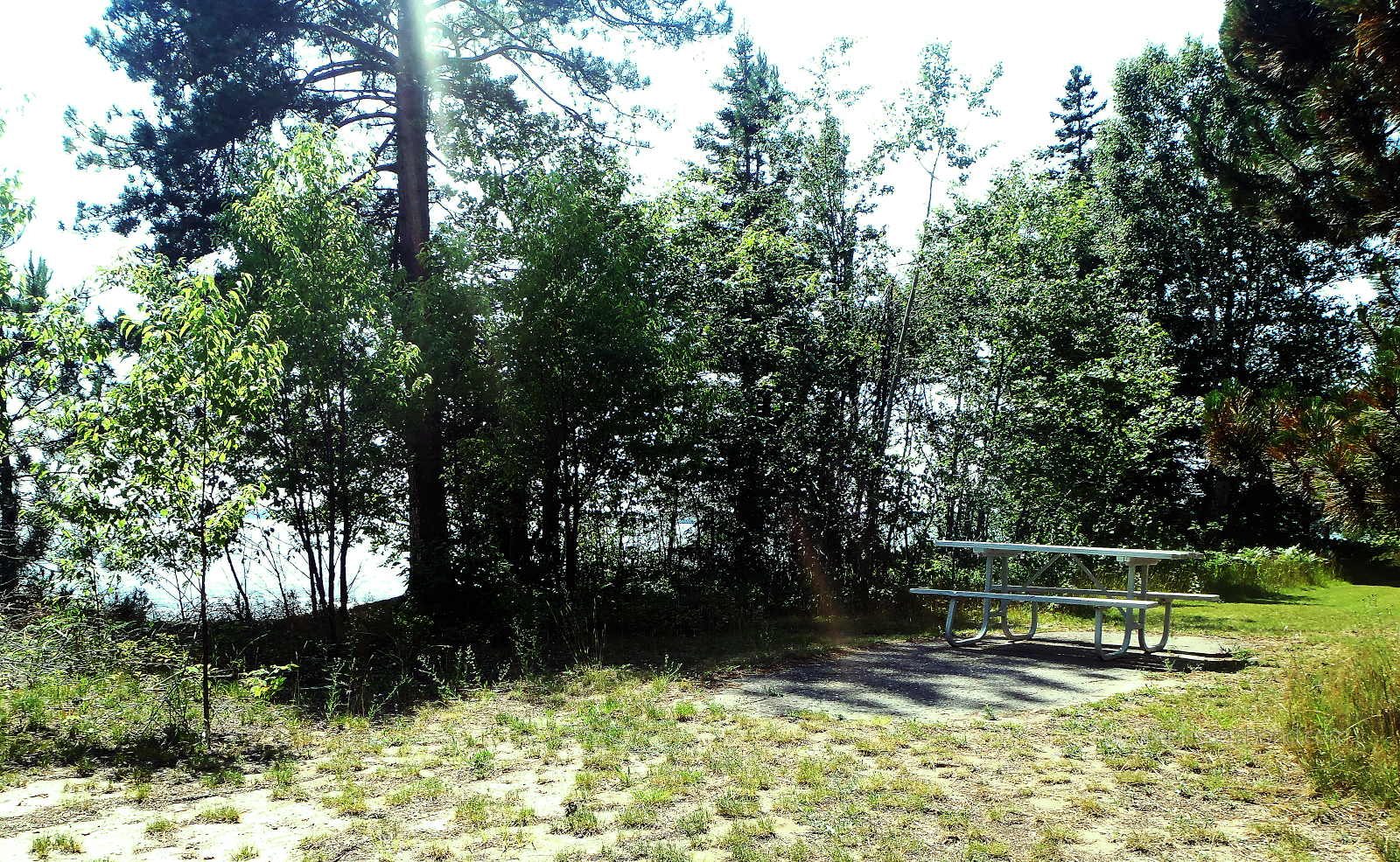 The temperature difference is notable between the picnic area atop the dunes and the beach at Batchawana Bay Provincial Park.