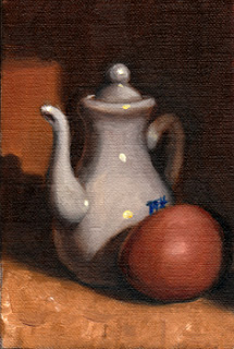 Oil painting of a small white porcelain teapot beside a brown egg.