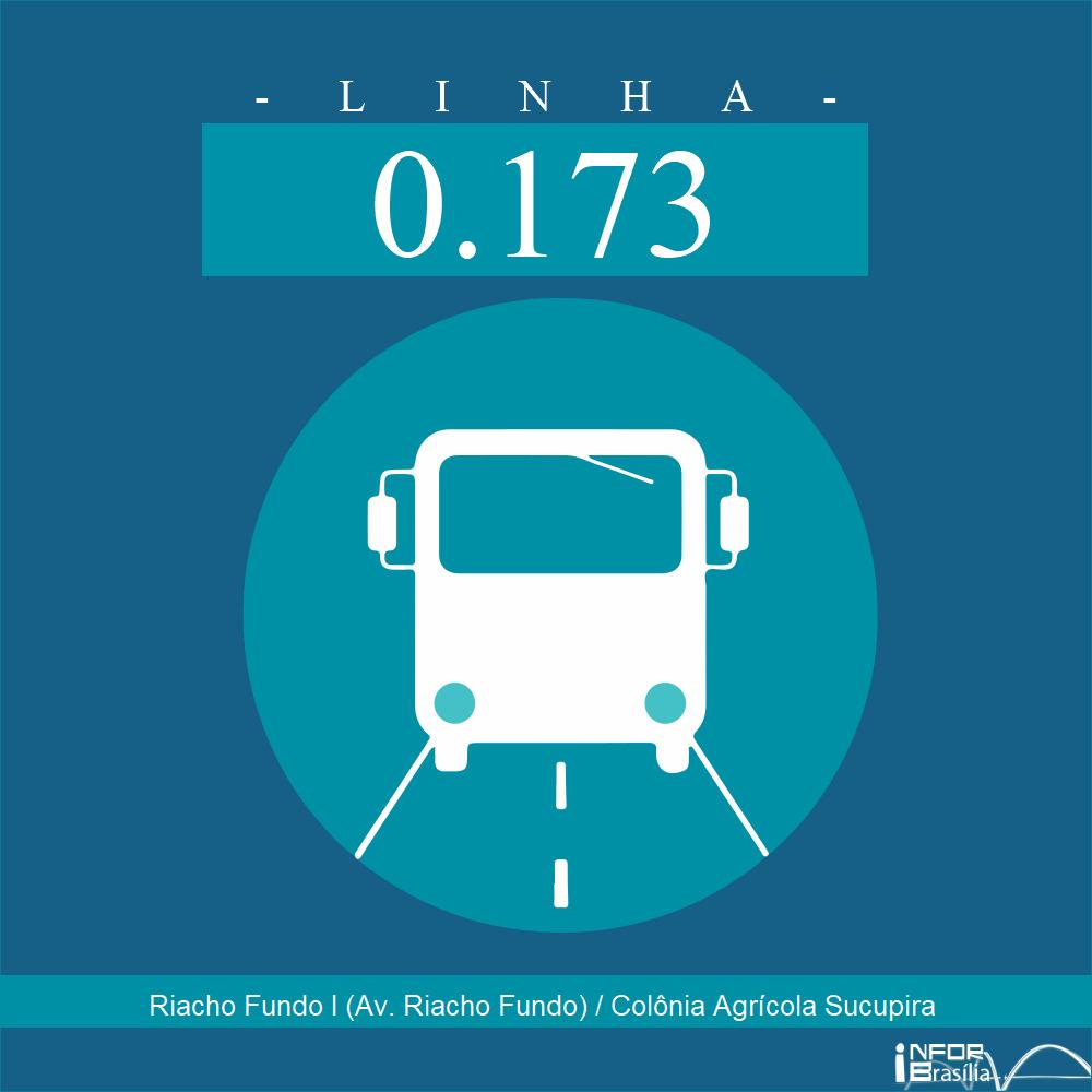 Horário de ônibus e itinerário 0.173 - Riacho Fundo I (Av. Riacho Fundo) / Colônia Agrícola Sucupira