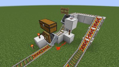 Minecraft トロッコ輸送 積み込み駅 複線 完成図①