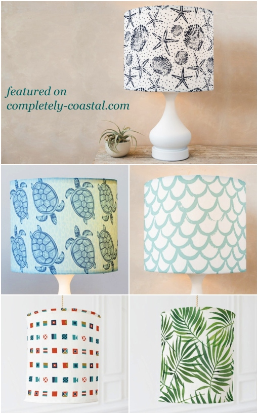 Coastal Nautical Tropical Fabric Lampshades