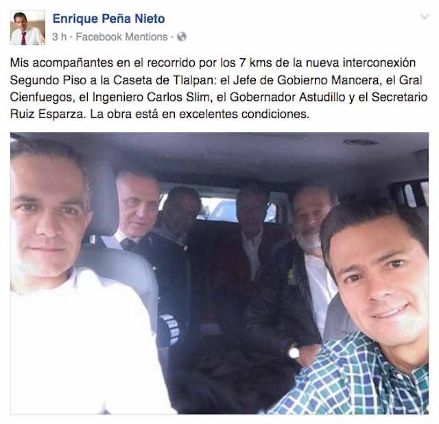 La selfie de los corruptos: Peña, Slim, Cienfuegos, Ruiz Esparza, Astudillo y hasta Mancera en el mismo auto