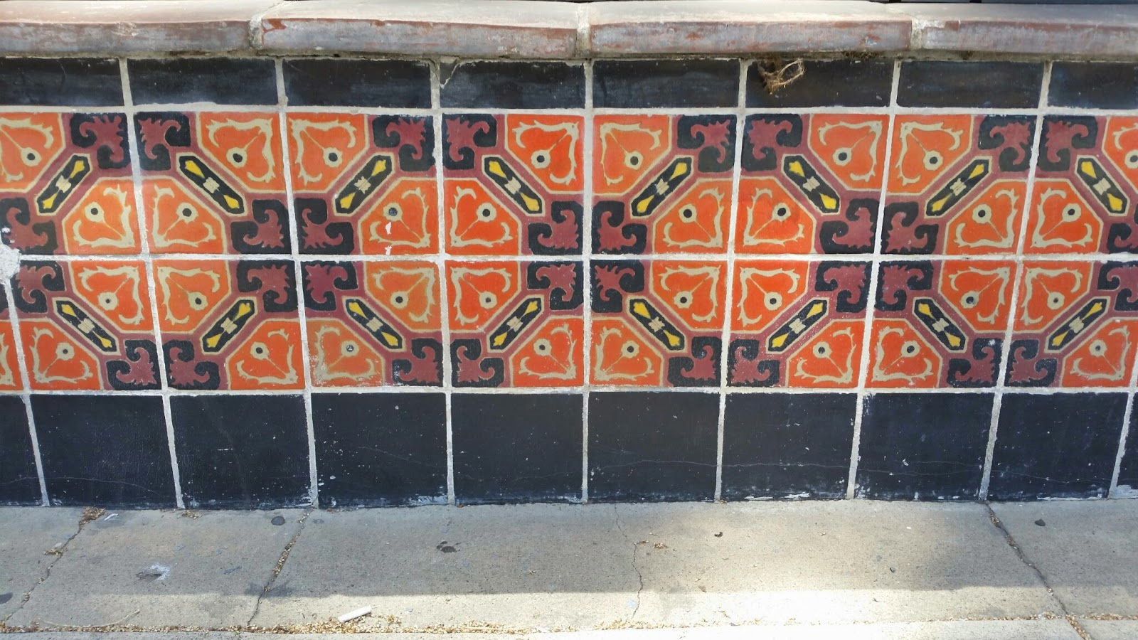 A colorful tile circa 1920 found in a Beverly Hills storefront