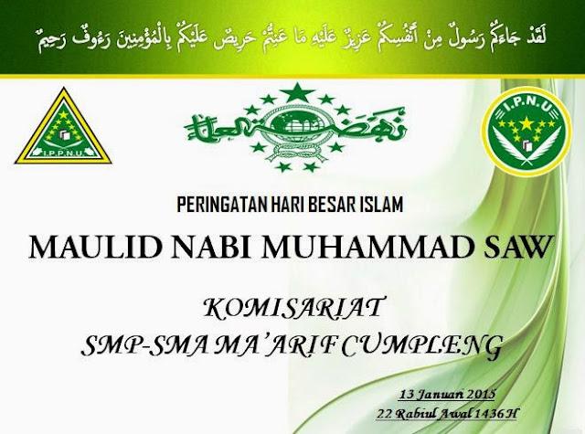 LAPORAN KEGIATAN MAULID NABI SMP MA'ARIF 6 TP. 2014-2015