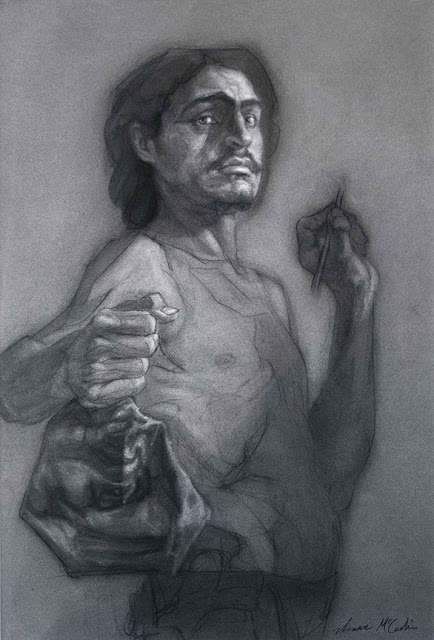 Isaac McCaslin  self-portrait contemporary classical art drawing charcoal mask defeat reluctant triumph Caravaggio david goliath figure figurative