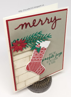 Linda Vich Creates: Christmas Crafting in Unseasonable November Heat. Pretty Pine Thinlits combine with Christmas Stocking Thinlits to create this lovely Christmas vignette.