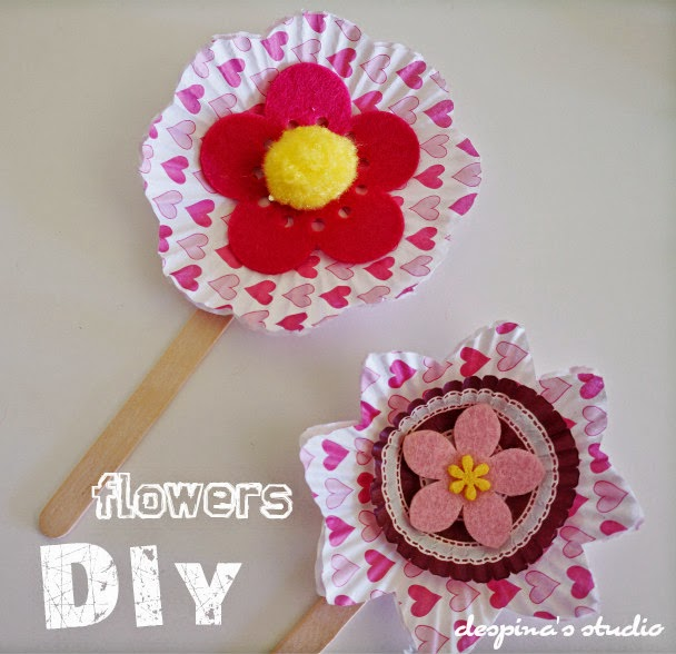 DIY flowers on a stick