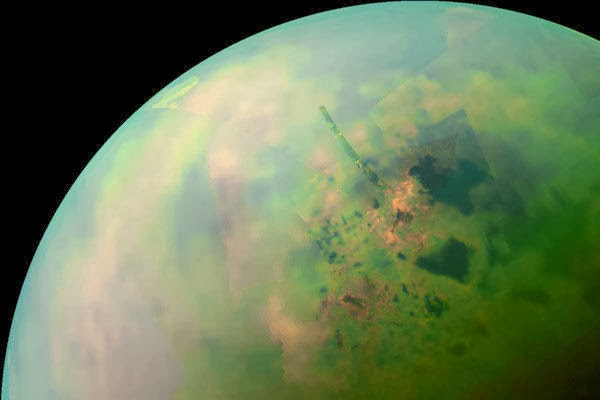 Mosaic of near-infrared images from Cassini showing lakes on Titan's north pole