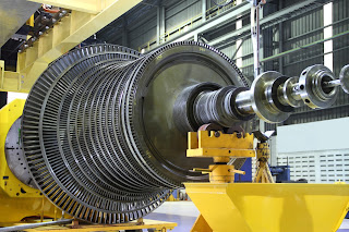 industrial stream turbine in workshop open