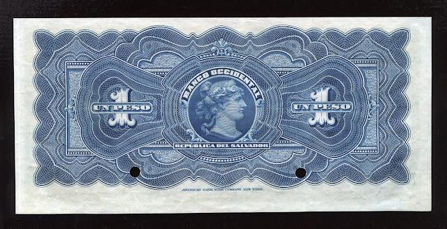 El Salvador specimen banknote El Banco Occidental 1 Peso