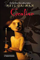 Coraline by Neil Gaiman book cover fantasy chapter book